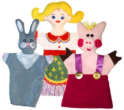 Куклы-перчатки из ткани. Зайчик серенький, поросёнок и Маша-растеряша.