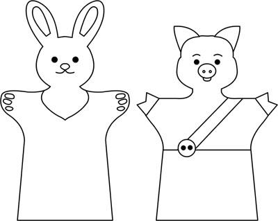 Выкройки кукол-перчаток зайчика и поросёнка.