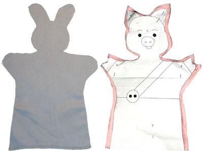Раскрой ткани для шитья куклы-перчатки