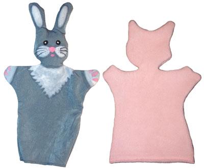 Готовая кукла-перчатка Зайчик и основа для куклы-перчатки Поросёнок