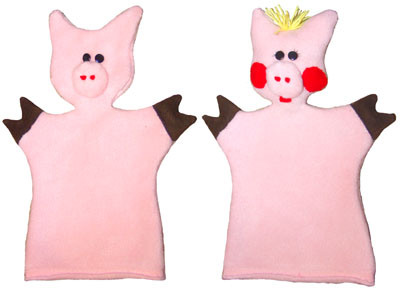 Добавление деталей мордочки кукле-перчатке Поросёнок