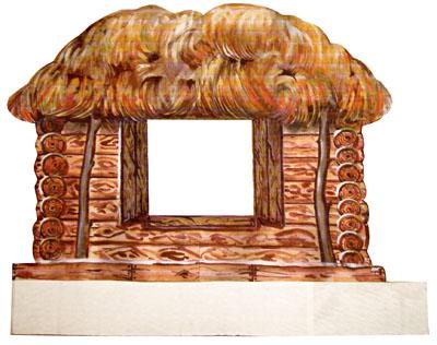 Мастер-класс: Избушка, приклеенная на картон. Художник: Елена Давыдова