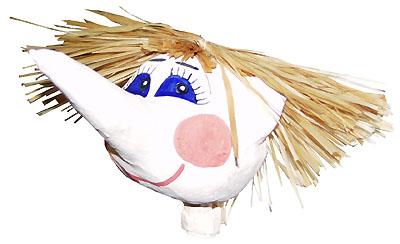 Раскрашенная голова куклы-перчатки Шишиги с приклеенными волосами из пучка мочала