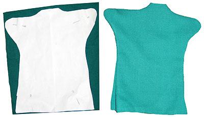 Перенесение выкройки на ткань для изготовления перчатки-костюма для куклы Шишиги