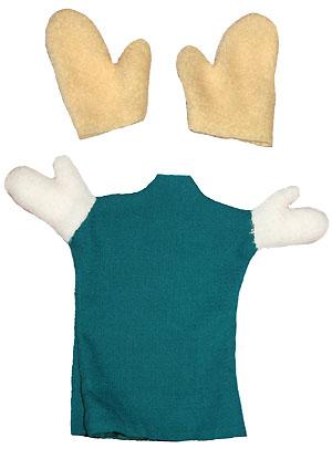 Заготовка из ткани рук куклы-перчатки и заготовка костюма куклы-перчатки с пришитыми ручками