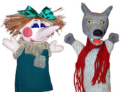 Готовые куклы-перчатки Шишиги и Волка