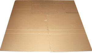 Склеивание кусков картона в единую плоскую плиту с обязательным заклеиванием сгибов