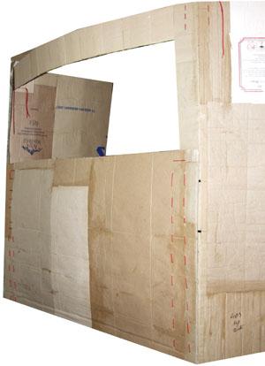 Заготовка картонной ширмы с пришитым верхом