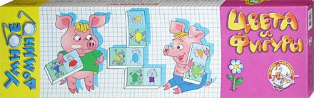 Настольные игры Олеси Емельяновой. Каталог. Цвета и фигуры. Серия Умное домино. Игры для детей от 4 лет.