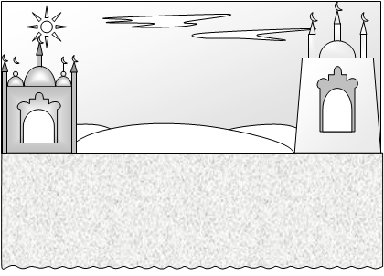Аладдин. Вид сцены с дворцом Аладдина.