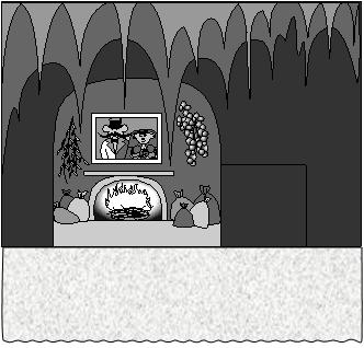 Дюймовочка. Вид сцены в норе у Мыши.