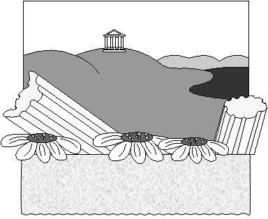 Дюймовочка. Вид сцены в южных странах, развалины античного храма.