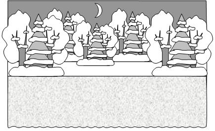 Новогодняя сказка. Вид сцены в заснеженном лесу.