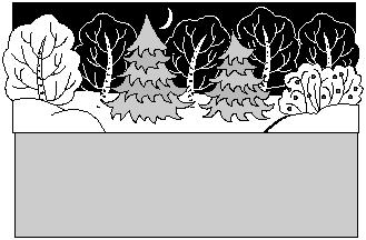 Спокойной ночи, малыши. Хрюшины подарки. Новогодний сценарий. Вид сцены в заснеженном лесу.