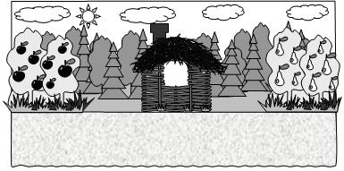 Три поросёнка. Вид сцены с домиком из хвороста.