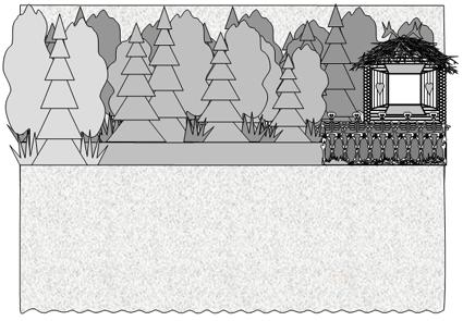 Василиса Прекрасная. Вид сцены в лесу.