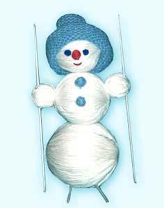 Снеговик. Игрушка в подарок из клубков