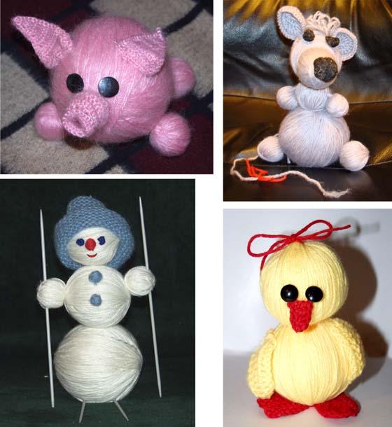 Игрушки с сюрпризами из клубков. Крыса, поросёнок, снеговик и цыпленок. Игрушки в подарок. Сделай сам!